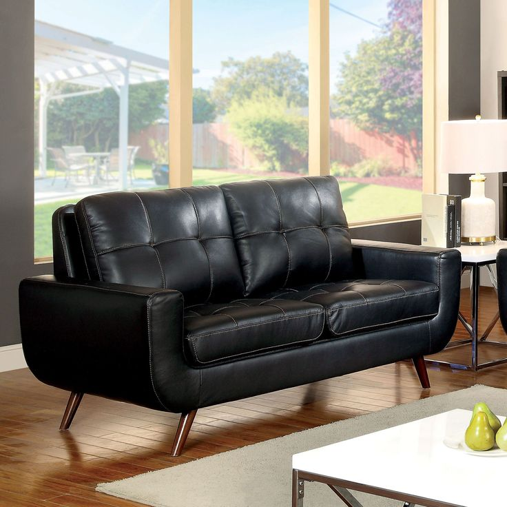 Furniture of America Garcia Mid-Century Modern Tufted Leather Gel Black Loveseat (Black) (Faux Leather)