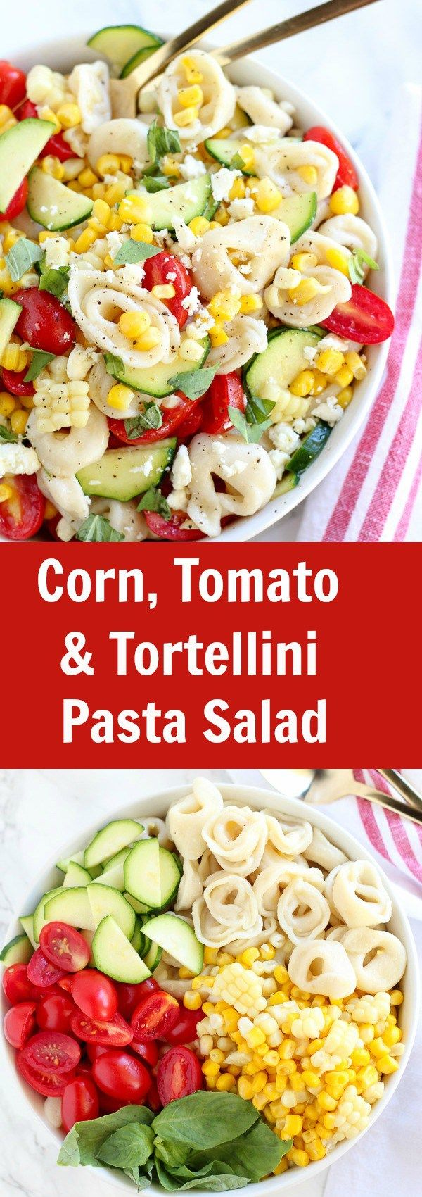 Summer Corn, Tomato, and Tortellini Pasta Salad - A summery pasta salad filled with cheese tortellini, corn, tomatoes, zucchini, and basil topped with a fresh lemon vinaigrette. Serve chilled or at room temperature. This recipe makes a fabulous side dish for your next summer party!