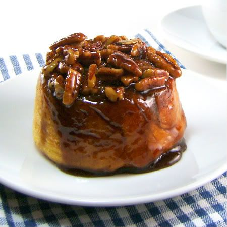 Pecan Rolls:  Use this recipe for inside of cinnamon buns with Aunt Louise's.  Spread melted butter to rolled out dough with sugar and cinnamon.