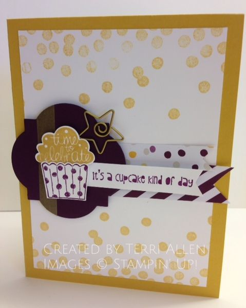 Cupcake Party, Stampin' Up! with the new In Colors, Blackberry Bliss and Hello Honey.