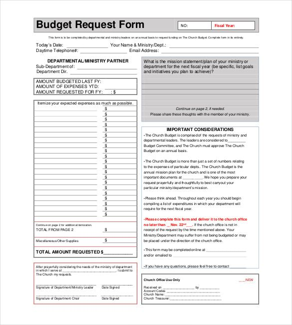 Church Budget Template u2013 10+ Free Word, Excel, PDF Documents - budget request form