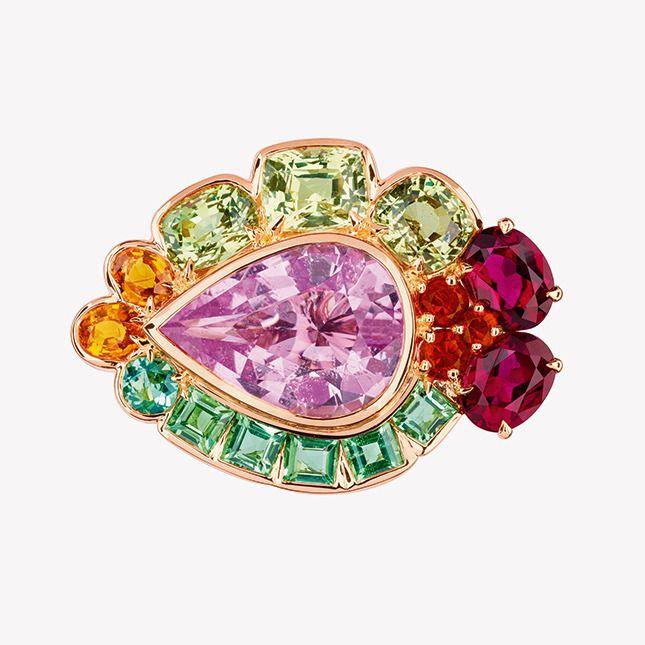 Кольцо из розового золота с бриллиантами, морганитом, хризобериллами, желто-зелеными турмалинами, спессартитами и огненными опалами