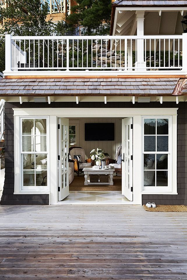 Cottage Deck. Cottage Deck Ideas. Lake Cottage Deck by the water. #Cottage #Deck #LakeCottage Muskoka Living Interiors.