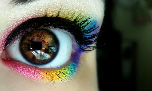 Rainbow: Eye Makeup, Bright Eye, The Face, Rainbows Colors, Eye Shadows, Double Rainbows, Eyeshadows, Eyemakeup, Rave Makeup