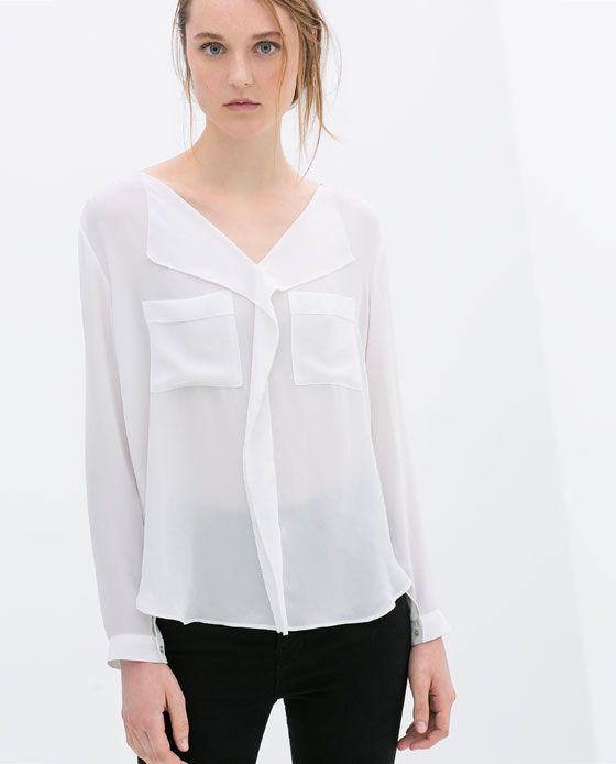 Image 1 of V-NECK BLOUSE from Zara