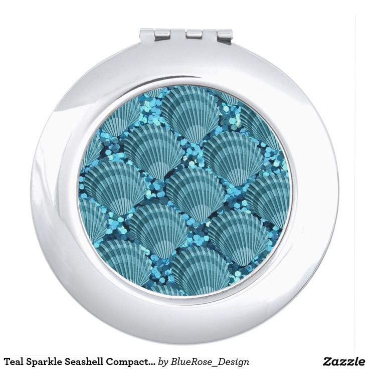 Teal Sparkle Seashell Compact Mirror