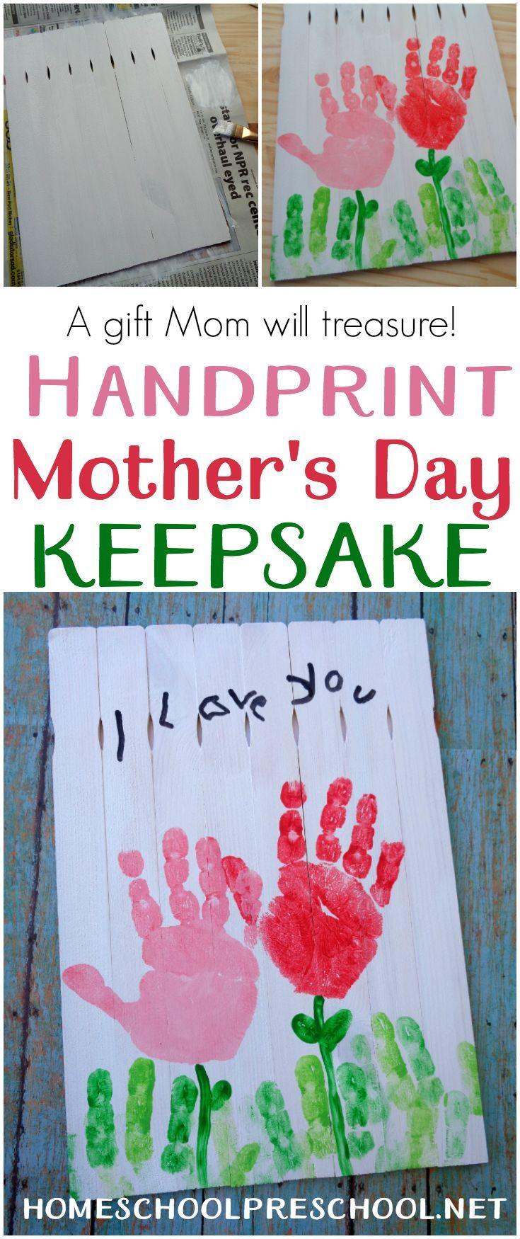 Young kids love making gifts for others. Here's a Mother's Day craft that is sure to become a treasured keepsake for many years to come. via @homeschlprek
