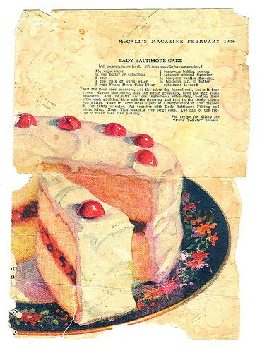 Lady Baltimore Cake - 1926 | Recipes from Vintage Magazine Ads | Pint ...