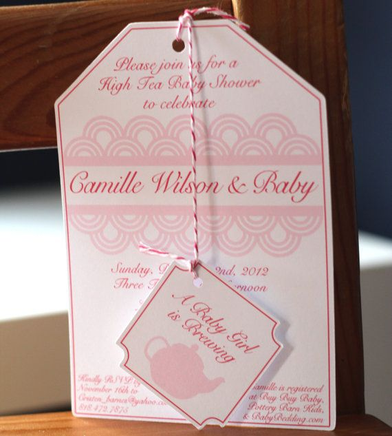 Set of 12 High Tea Party Baby Shower Tea Bag Invitations