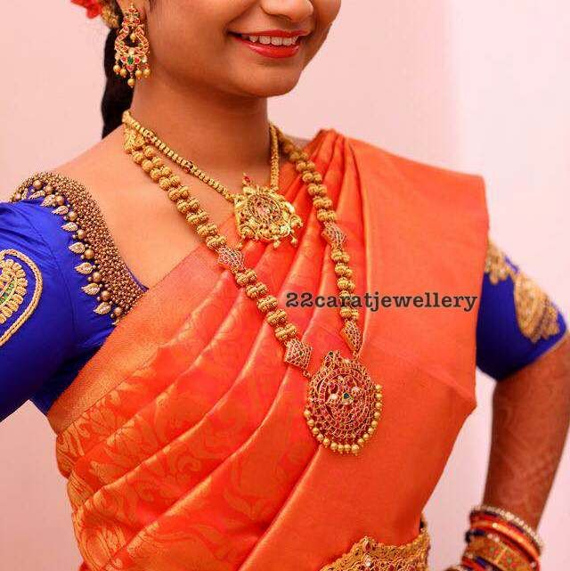Bride in Gold Beads Long Set Vaddanam                                                                                                                                                                                 More