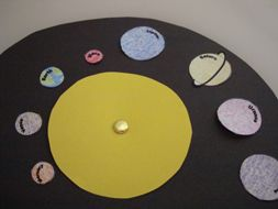 "Learning Craft:  Orbiting Planets  {Using a brad, the planets circle around the sun.  Piggyback idea... if each planet had a brad, the planets could spin on their own ""axis"" while orbiting the sun.}"