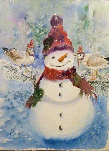 Advent, Advent ein Lichtlein brennt (c) Aquarell von Frank Koebsch   Weihnachtsgrüße von der Ostsee (c) ein Schneemann in Aquarell von Hanka Koebsch