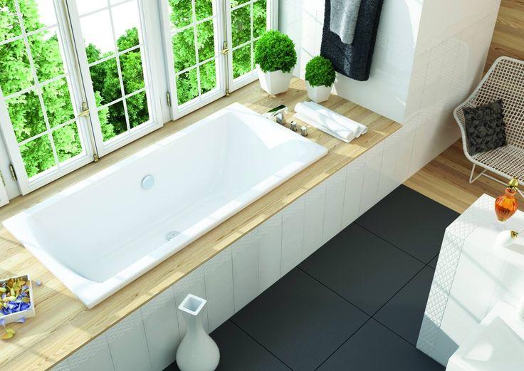 Uniwersalny design prostokątnej wanny dobrze wkomponuje się zarówno w minimalistyczne wnętrza, jak i te o odważnym wystroju. Wannę Linea można wybrać w jednym z trzech rozmiarów. Największa wersja (180x80 cm) to coś dla miłośników ekskluzywnych kąpieli.