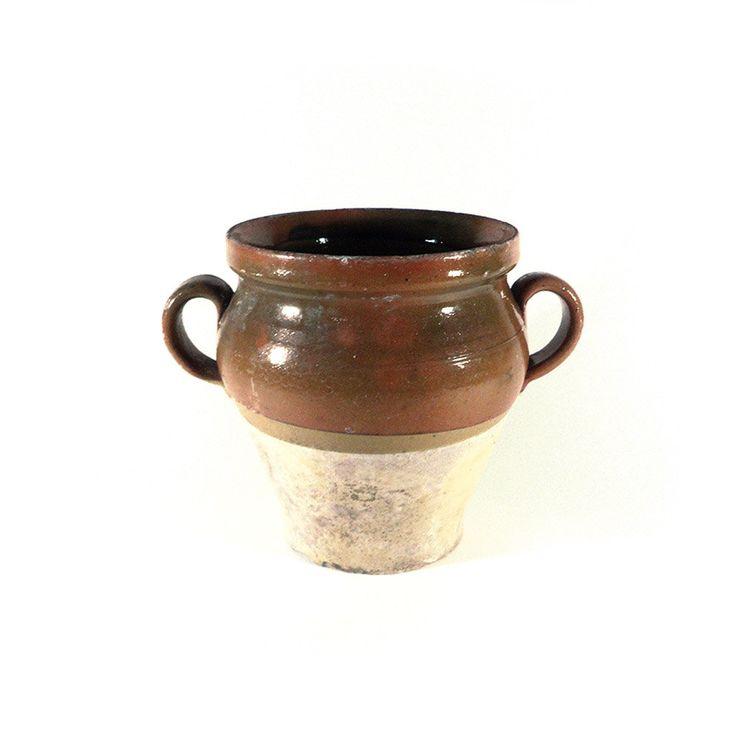 Glazed Confit Pot, French Two-Tone Pottery Jar, Brown Beige Earthenware, Farmhouse Kitchen, Rustic Decor, Flower Pot, Normandy Pot