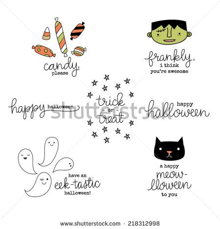 Cute Hand Lettered Punny Halloween Phrases, Sentiments, and Hand Drawn Icons - stock vector
