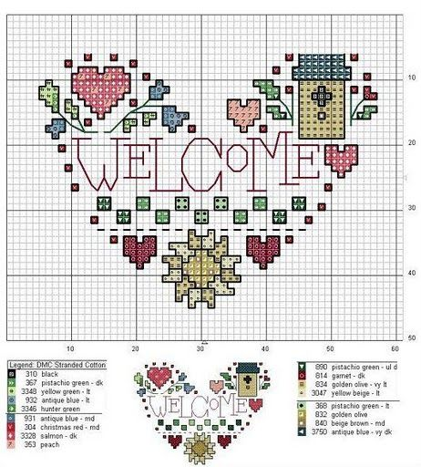 welcome heart  cross stitch chart (for mom maybe)