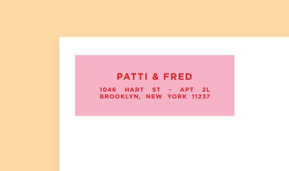 """Personalised Return Address Label, Pink Red, Size 2 5/8"""" x 1"""", Custom Labels, Custom Address Sticker, Shipping Label, Wes Anderson,SET OF 30"""