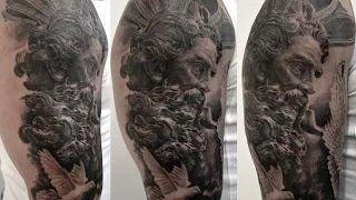 tatouage dieu poseidon par stephane bueno tatoueur studio black corner tattoo valence #poseidon #tattoo #tattoos #realism #realistic #sleeve #dieu #face