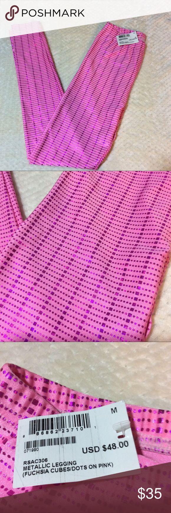 NWT American Apparel metallic legging. NWT American Apparel metallic legging. Size M. Color : Fuchsia cubes/dots on pink. American Apparel Pants Leggings