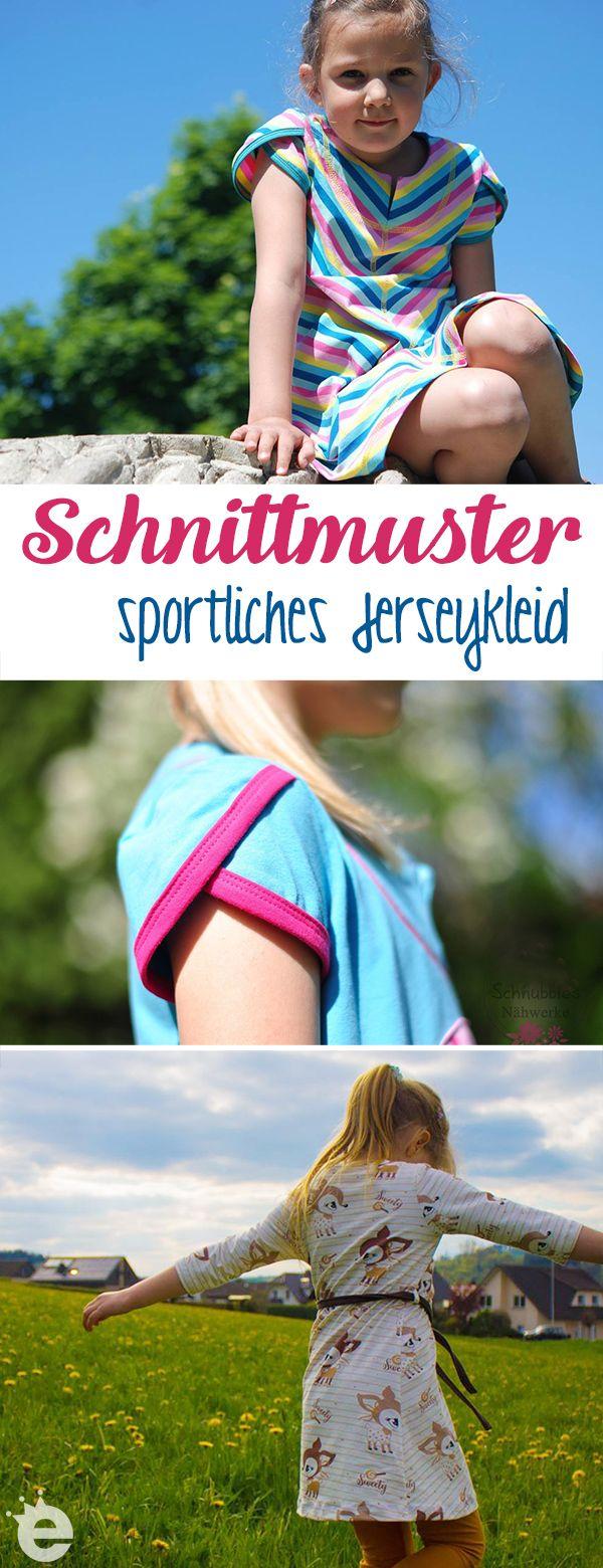 Schnittmuster sportliches Mädchenkleid, auch super als Strandkleid oder Einschulungskleid. Jerseykleid nähen mit oder ohne Kapuze, Tulpenärmel und Teilung. Größen 80 bis 152