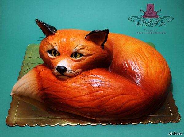 Торт в виде лисы. еще одно мое творение. Ждите скоро будет еще один длиннопост, о том как оформить торт.