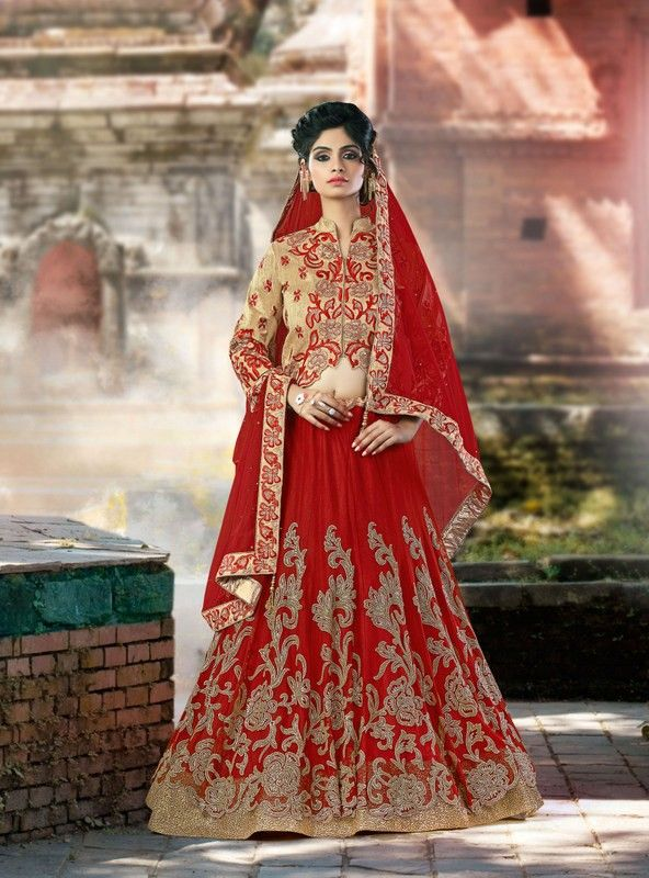 buy saree online Designer Red Colour Net Wedding Wear Lengha Choli Buy Saree online - Buy Sarees online