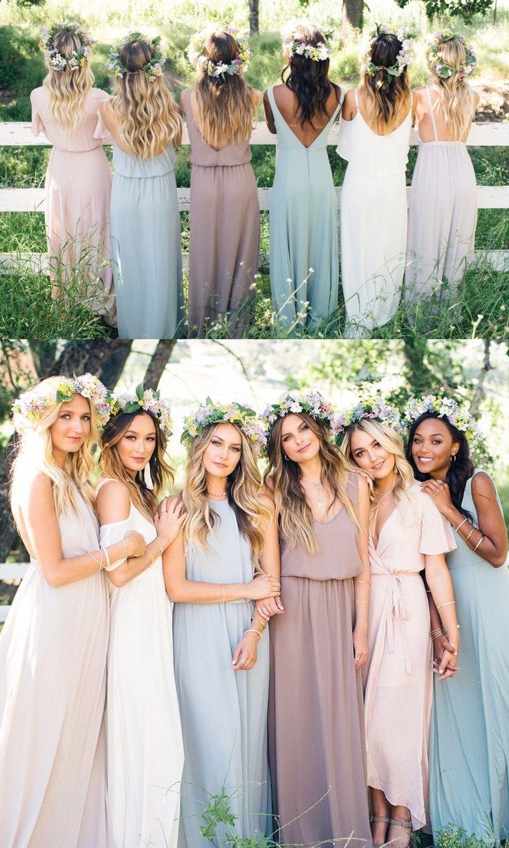 A-Line Jewel Light Blue Floor-Length Chiffon Bridesmaid Dress
