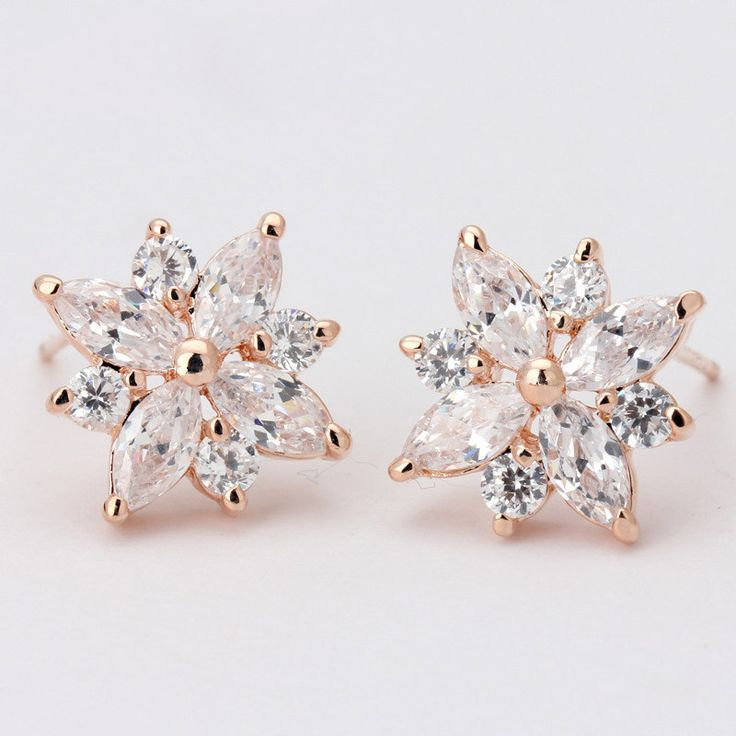 Earrings - Platinum Plated, Cubic Zirconia Flower Studs
