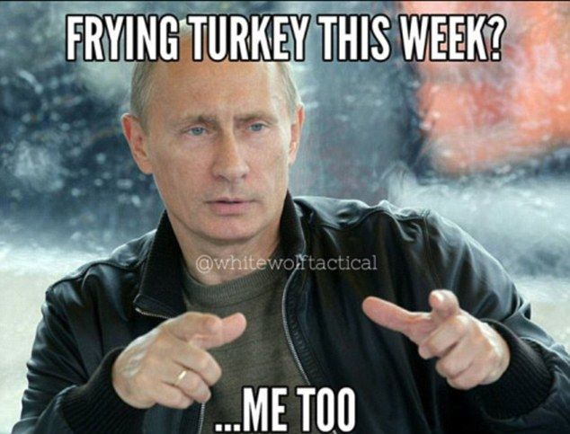 Reaction: A meme in which Putin is says, 'Frying Turkey this week? Me too', suggests Russia will retaliate for the shooting down of their jet