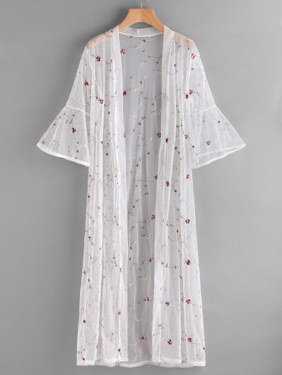 Embroidered Bell Sleeve Kimono