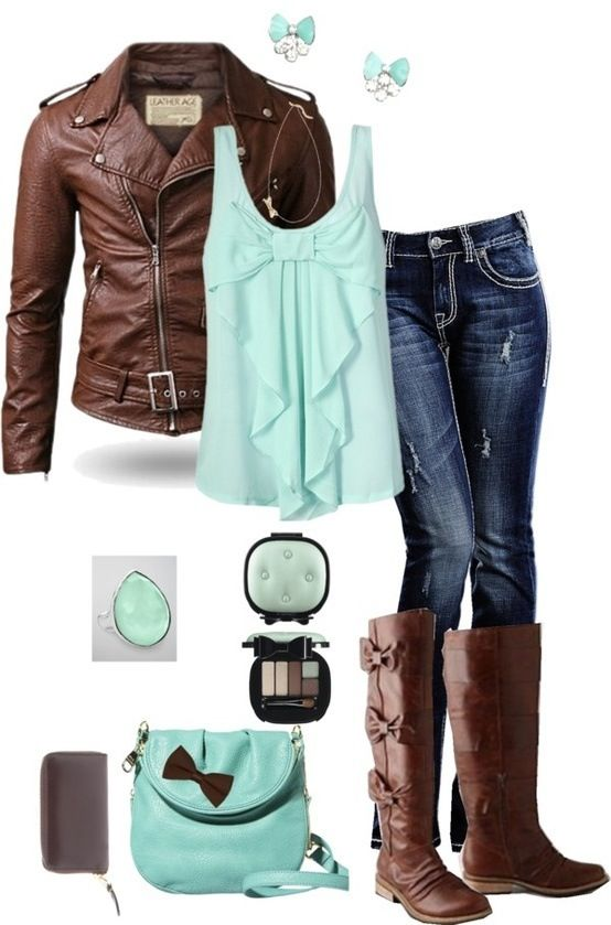 Cute outfit but I would replace it with a soft peach or a red in the shirt and purse