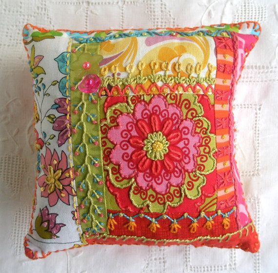 I ❤ crazy quilting & embroidery . . . Pincushion Bright Crazy Patch...Love the embroidery ~By fiberluscious