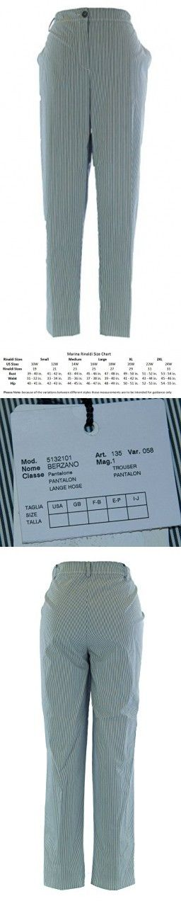 MARINA RINALDI by MaxMara Berzano Blue / White Pinstriped Dress Pants 20W / 29