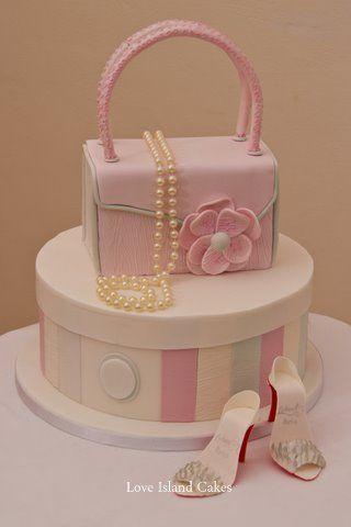 HANDBAG & HATBOX CELEBRATION CAKE Glamorous Handbag, Hatbox, Pearls and High Heels, all made in sugar, for a glamorous girl