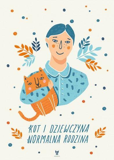 Plakat Kot i dziewczyna