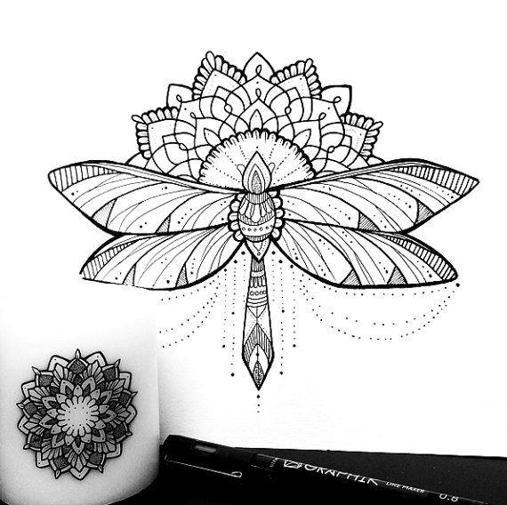 Decorative Dragonfly & Mandala Print by Dotified on Etsy