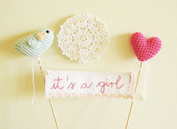 Baby Shower Cake Topper Pink  It's a girl or Sweet Baby Girl  Banner Sign Crocheted Heart and Bird Made to Order  on Etsy on Etsy, $57.00
