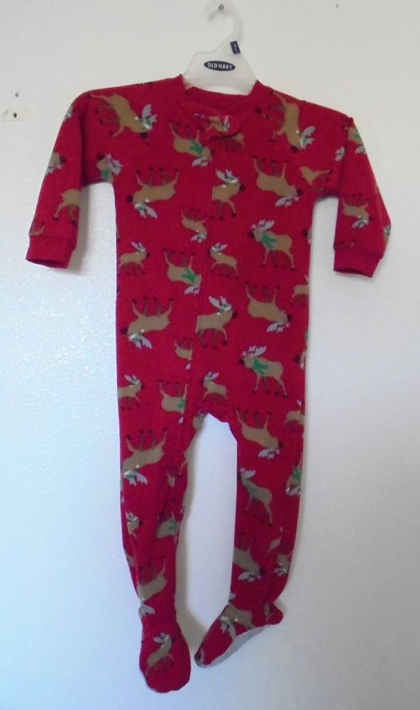 f1ff0b321 Carter s Boys or Girls 3T Red Holiday Moose Blanket Footed Pajamas ...