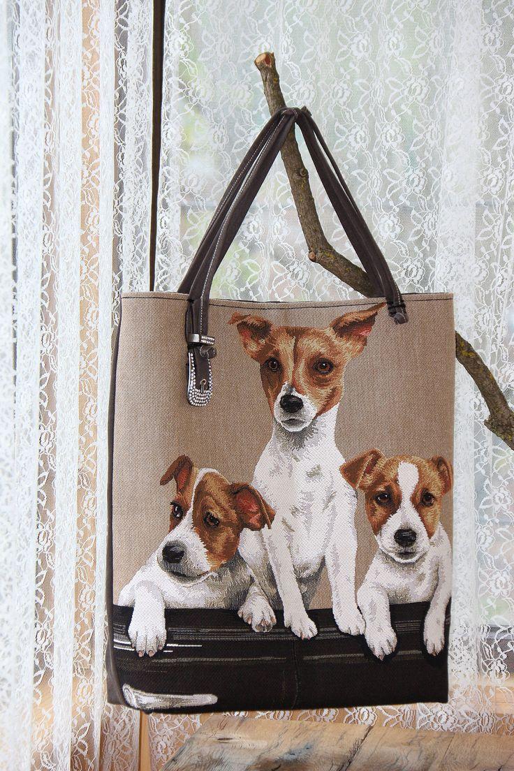 borsa cani jack russel arazzo cotone di PaolaCollection su Etsy