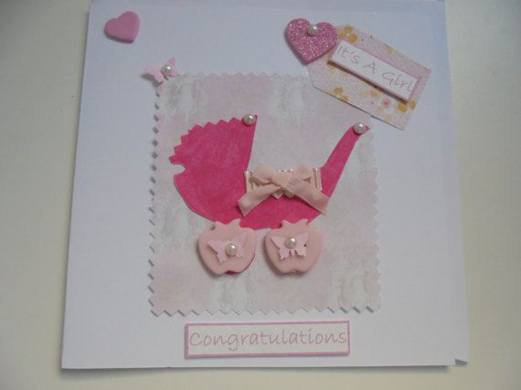 It's a Girl hand made card, pink pram, congratulations and pretty embellishments made with love, FREE SHIPPING...