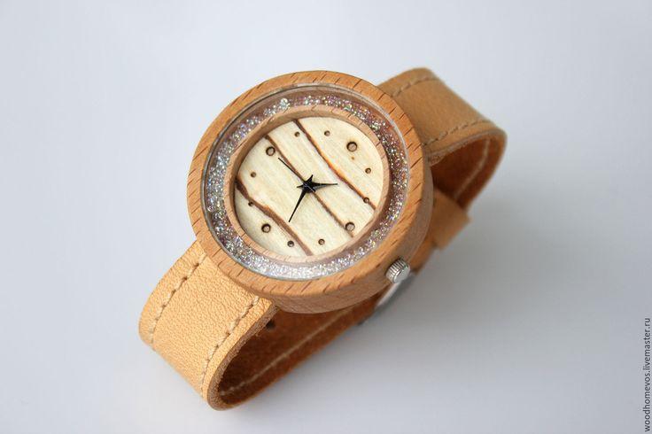 Купить Наручные часы из дерева (бук) с кристаллами swarovski - комбинированный, бук, swarovski, Сваровски, часы