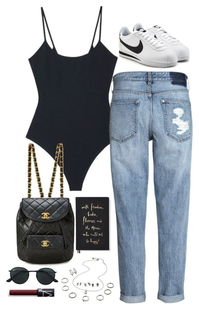 """""""Sem título #5367"""" by fashionnfacts ❤ liked on Polyvore featuring Alix, H&M, NIKE, Ray-Ban, NARS Cosmetics and Kate Spade"""