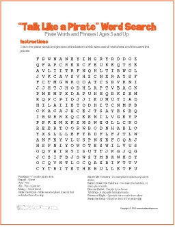 Talk Like a Pirate | Free Word Search Worksheet - http://whatisrootbeer.com/rootbeer-pirate-worksheet.php