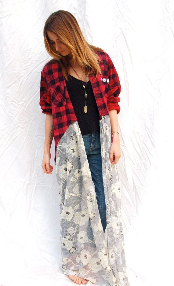flannel shirts with lace | Bohemian Flannel Shirt Duster - Vintage Flannel turned into adorable ...