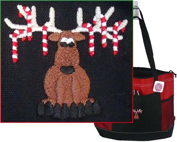 Funny Moose and Candy Canes Gemline Select Tote  Name