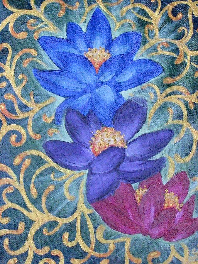 Lotus Flowers Painting  - Lotus Flowers Fine Art Print