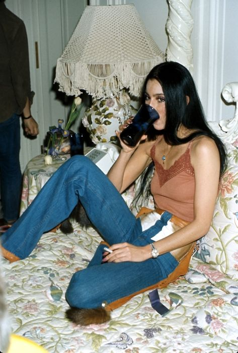 Cher, 1970s. Check out the shiny gold pockets.
