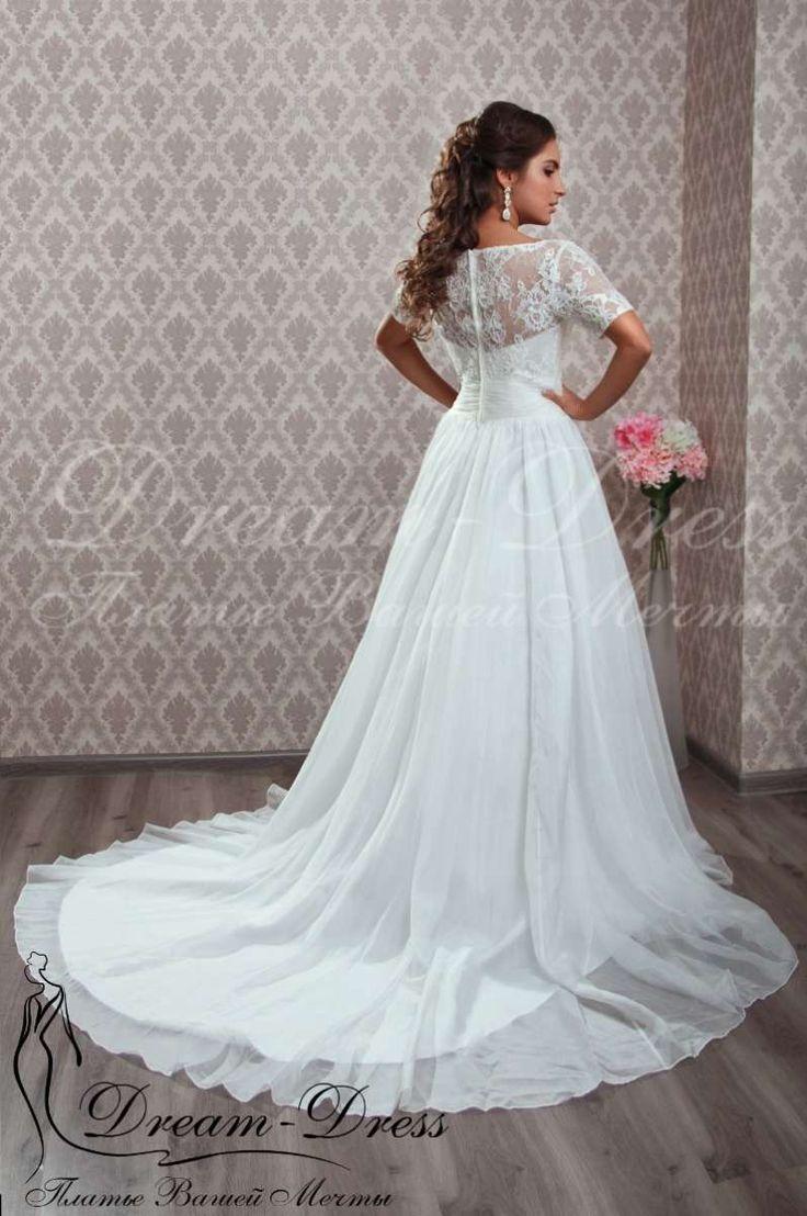 Chante / Свадебные платья / Каталог товаров Прямое свадебное платье с шифоновой юбкой. Нежный кружевной корсет с рукавами расшит бисером, пайетками и бусинами. В наличии изделие в цвете айвори, размер 42-44-46, на спине молния. На заказ возможен любой цвет и размер.
