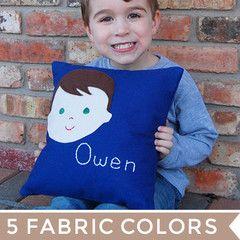 custom childrens throw pillow   boy from sarah + abraham (http://www.sarahandabraham.com)