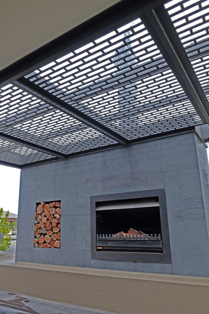 Laser cut screens make building a pergola easy! This is QAQ's 'Valletta' pattern.